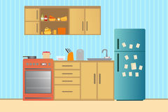 Kitchen with furniture. Cozy kitchen interior with table, stove, cupboard, dishes and fridge. Flat style  illustration Stock Images