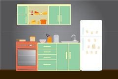 Kitchen with furniture. Cozy kitchen interior with table, stove, cupboard, dishes and fridge. Flat style vector illustration Royalty Free Stock Photo