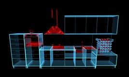 Kitchen furniture (3D xray blue transparent). Kitchen furniture (3D xray red and blue transparent isolated on black background Stock Photography