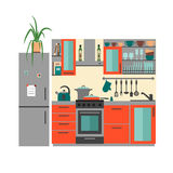 Kitchen with furniture Royalty Free Stock Images