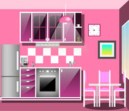 Kitchen with furniture. Flat style vector illustration. Cozy kitchen interior with table, stove, cupboard, dishes and fridge royalty free illustration