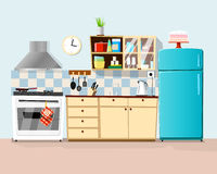 Kitchen with furniture. Illustration Royalty Free Stock Images