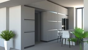 Kitchen furniture, interior design. Furniture and appliances. Entrance and open space with a view of a kitchen stock image