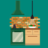 Kitchen and furniture interior flat style vector illustration Royalty Free Stock Images