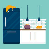 Kitchen and furniture interior flat style vector illustration Royalty Free Stock Photos
