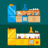 Kitchen and furniture interior flat style vector illustration Stock Images