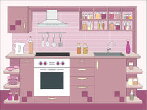 Kitchen furniture. Interiors Royalty Free Stock Image