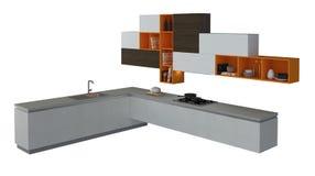 Kitchen Furniture Isolated On White 3D Illustration Stock Photo