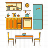 Kitchen with furniture Stock Images