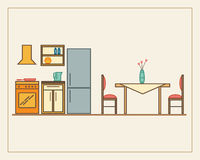 Kitchen with furniture Stock Photo