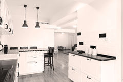 Kitchen furniture. Black and white modern kitchen furniture, seen from above Stock Photography