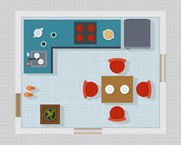 Kitchen with furniture set top view Stock Images