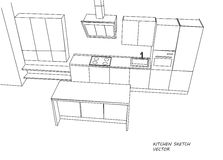 Kitchen furniture sketch. Kitchen 3D furniture sketch with table. Vector Stock Image