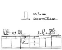 Kitchen furniture sketch. Hand drawn cupboard. Royalty Free Stock Images