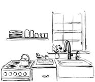 Kitchen furniture sketch. Hand drawn cupboard. Stock Photography