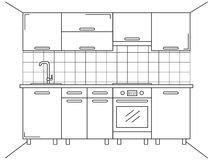 Kitchen furniture. Sketch in line style. Plan kitchen Royalty Free Stock Image