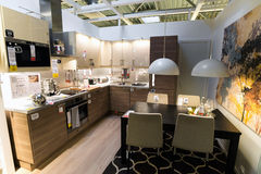Kitchen in the furniture store  Ikea Royalty Free Stock Image