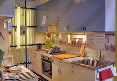 Kitchen in furniture store Ikea Royalty Free Stock Image