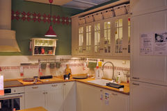Kitchen in furniture store Ikea Royalty Free Stock Photo