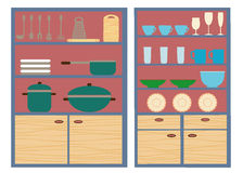 Kitchen furniture and utensils Stock Images