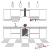 Kitchen with furniture and utensils. Kitchen front view in gray and red color . Royalty Free Stock Photo