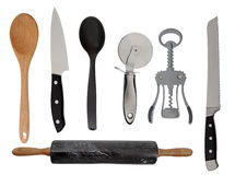 Kitchen Gadgets. A collection of kitchen gadgets on white royalty free stock photos
