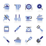 Kitchen gadgets and equipment icons Royalty Free Stock Photography