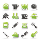 Kitchen gadgets and equipment icons Stock Image