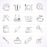 Kitchen gadgets and equipment icons Royalty Free Stock Photo