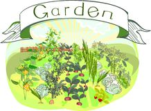 Kitchen-garden with title Royalty Free Stock Image