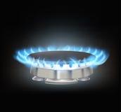 Kitchen gas burner. On black Royalty Free Stock Images