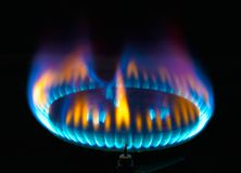 Kitchen gas burner flame Royalty Free Stock Images