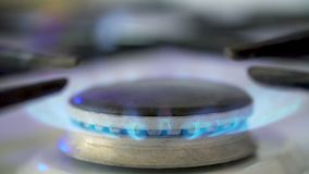 Kitchen Gas Burner. On and off stock video