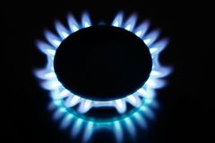 Kitchen gas flames Royalty Free Stock Photo