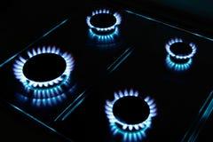 Kitchen gas flames Stock Photos