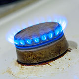 Kitchen gas hob burning. Closeup royalty free stock image