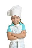 Kitchen girl with crossed arms Stock Photos