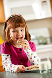 Kitchen Girl: Milk and Cookie Snack Stock Photography