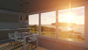 Kitchen with glass doors and sea landscape. 3D illustration Royalty Free Stock Photo