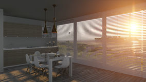 Kitchen with glass doors and sea landscape. 3D illustration Royalty Free Stock Photos