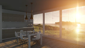 Kitchen with glass doors and sea landscape. 3D illustration Royalty Free Stock Images