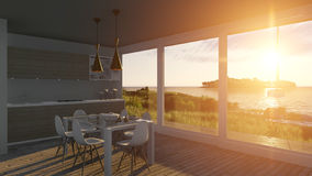 Kitchen with glass doors and sea landscape. 3D illustration Royalty Free Stock Photography