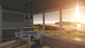Kitchen with glass doors and sea landscape. 3D illustration Stock Photography