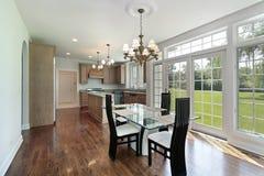 Kitchen with glass sliding doors Stock Photos