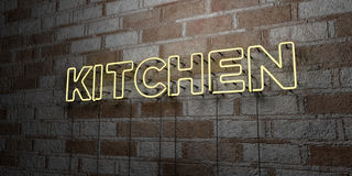 KITCHEN - Glowing Neon Sign on stonework wall - 3D rendered royalty free stock illustration Stock Image