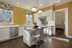 Kitchen with gold walls Stock Photo