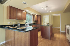 Kitchen with granite counters Royalty Free Stock Images