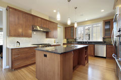 Kitchen with granite island Royalty Free Stock Photo