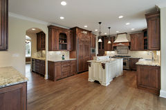 Kitchen with granite island Stock Photos