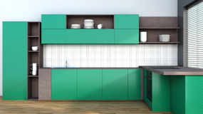 Kitchen in green Stock Photo